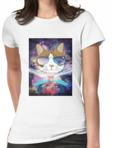 Funny Laser Gun Space Cat T-Shirt Galaxy Kitty Womens Fitted T-Shirt