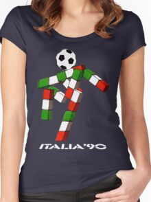 Italia 90 World Cup Ciao Mascotte and write (A) Women's Fitted Scoop T-Shirt