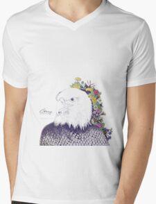 Illustrated Eagle (Flower) Mens V-Neck T-Shirt