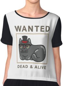 Funny Wanted Cat Dead & Alive Graphic Novelty Chiffon Top