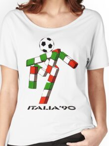 Italia 90 World Cup Ciao Mascotte and write (B) Women's Relaxed Fit T-Shirt