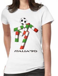 Italia 90 World Cup Ciao Mascotte and write (B) Womens Fitted T-Shirt