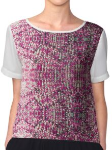 Pink Knitted Jumper Chiffon Top