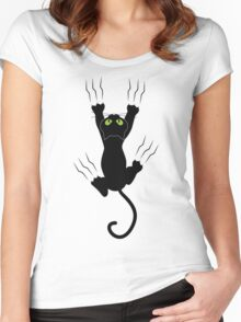 Funny Black Angry Cat T-Shirt I Love Cats Cute Graphic Tee  Women's Fitted Scoop T-Shirt