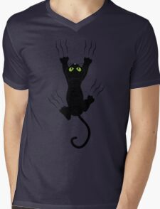 Funny Black Angry Cat T-Shirt I Love Cats Cute Graphic Tee  Mens V-Neck T-Shirt