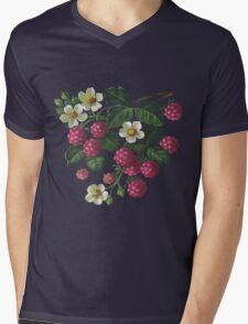 Raspberries - acrylic on canvas Mens V-Neck T-Shirt