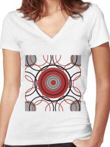 Kreise Rot Women's Fitted V-Neck T-Shirt