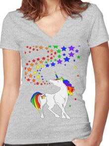 Gay Pride Unicorn Spewing Rainbows & Stars Women's Fitted V-Neck T-Shirt