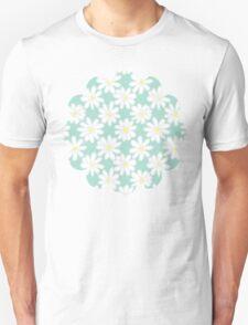 Bright Happy Daisies on Mint Unisex T-Shirt