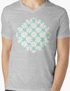 Bright Happy Daisies on Mint Mens V-Neck T-Shirt