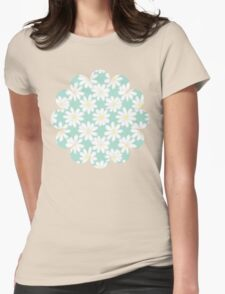 Bright Happy Daisies on Mint Womens Fitted T-Shirt