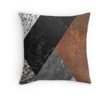 MARBLE, GRANITE AND RUSTED IRON ABSTRACT Throw Pillow