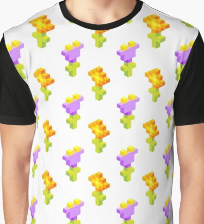 Pixel Flowers Graphic T-Shirt