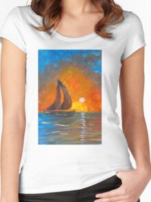 A boat sailing against a vivid colorful sunset  Women's Fitted Scoop T-Shirt