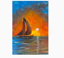 A boat sailing against a vivid colorful sunset  Unisex T-Shirt