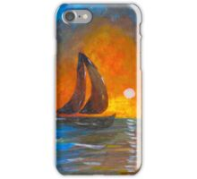 A boat sailing against a vivid colorful sunset  iPhone Case/Skin