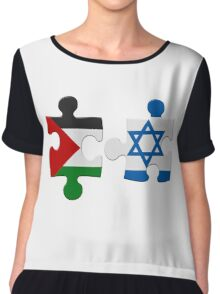 Israel and Palestine Conflict Flag Puzzle Chiffon Top