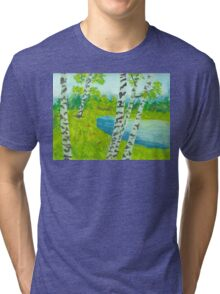 The birch tree forest Tri-blend T-Shirt