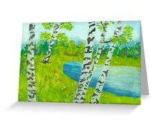 The birch tree forest Greeting Card