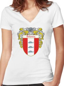 Delaney Coat of Arms/Family Crest Women's Fitted V-Neck T-Shirt