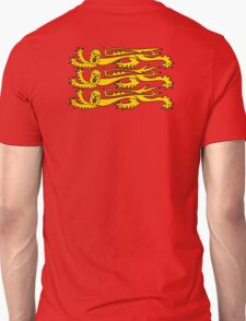 Three Lions, Royal Banner of England, England, 3 Lions, English, British, Britain, UK, RED Unisex T-Shirt