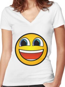 Happy Smile Emoji Smiley Face Be Happy Hipster Geek Funny Sticker Women's Fitted V-Neck T-Shirt