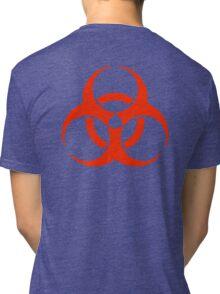BIO HAZARD, Warning, Biohazard symbol, Biological hazard, in red & black Tri-blend T-Shirt
