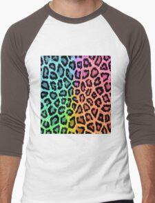 Colorful Leopard Animal Print Men's Baseball ¾ T-Shirt