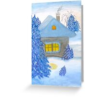 A small cottage in the fairy forest in snow. Greeting Card