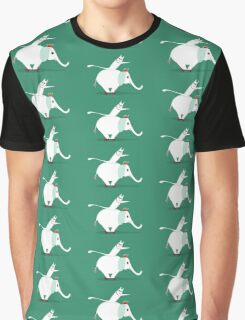 WHITE ELEPHANT & CAT ON GREEN Graphic T-Shirt