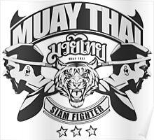 muay thai boxing logo thailand martial art siam fighter Poster