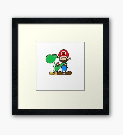 Mario and Yoshi Framed Print