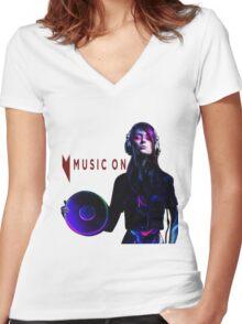 MUSIC ON Women's Fitted V-Neck T-Shirt