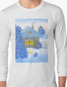 A small cottage in the fairy forest in snow. T-Shirt