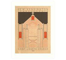 Saint Joseph Church - 1924 (Orange) Art Print