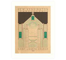 Saint Joseph Church - 1924 (Green) Art Print