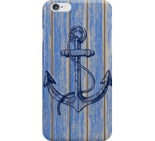 Aged Blue Paint Pealing Wood Planks Pattern iPhone Case/Skin