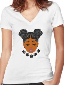 ROSE GIRL Women's Fitted V-Neck T-Shirt