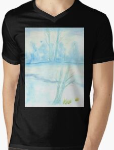 Foggy winter landscape frosty morning Mens V-Neck T-Shirt