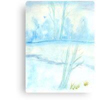 Foggy winter landscape frosty morning Canvas Print