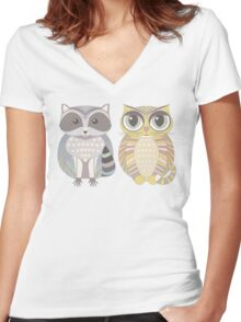 Raccoon & Cat Women's Fitted V-Neck T-Shirt