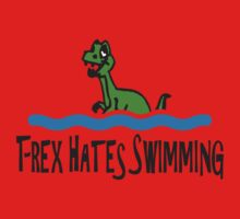 T Rex Hates Swimming Kids Tee