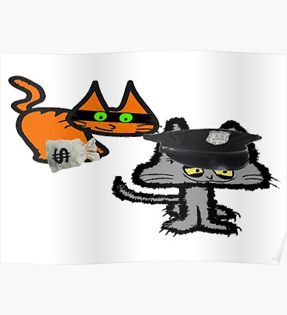 Two Cats Play Cop and Robber Poster