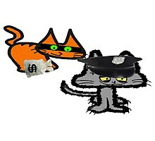 Two Cats Play Cop and Robber Photographic Print