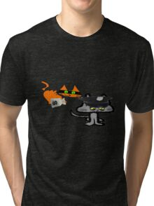 Two Cats Play Cop and Robber Tri-blend T-Shirt