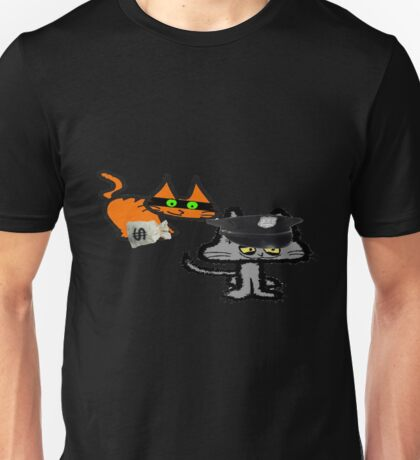 Two Cats Play Cop and Robber Unisex T-Shirt