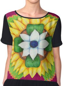 Lotus flower of life style  cute and fun.  Chiffon Top