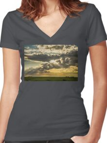 Sunshine Beams of Gold Raining Down Women's Fitted V-Neck T-Shirt