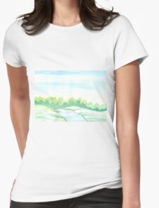 River flowing through meadows Womens Fitted T-Shirt