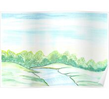 River flowing through meadows Poster